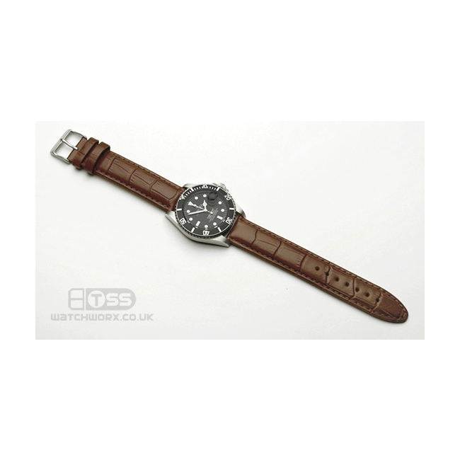 'Vienna XL' Crocodile Grain Leather Watch Strap On Rolex