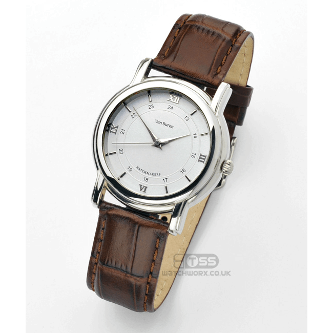 'Vienna XL' Crocodile Grain Leather Watch Strap On Van Buren