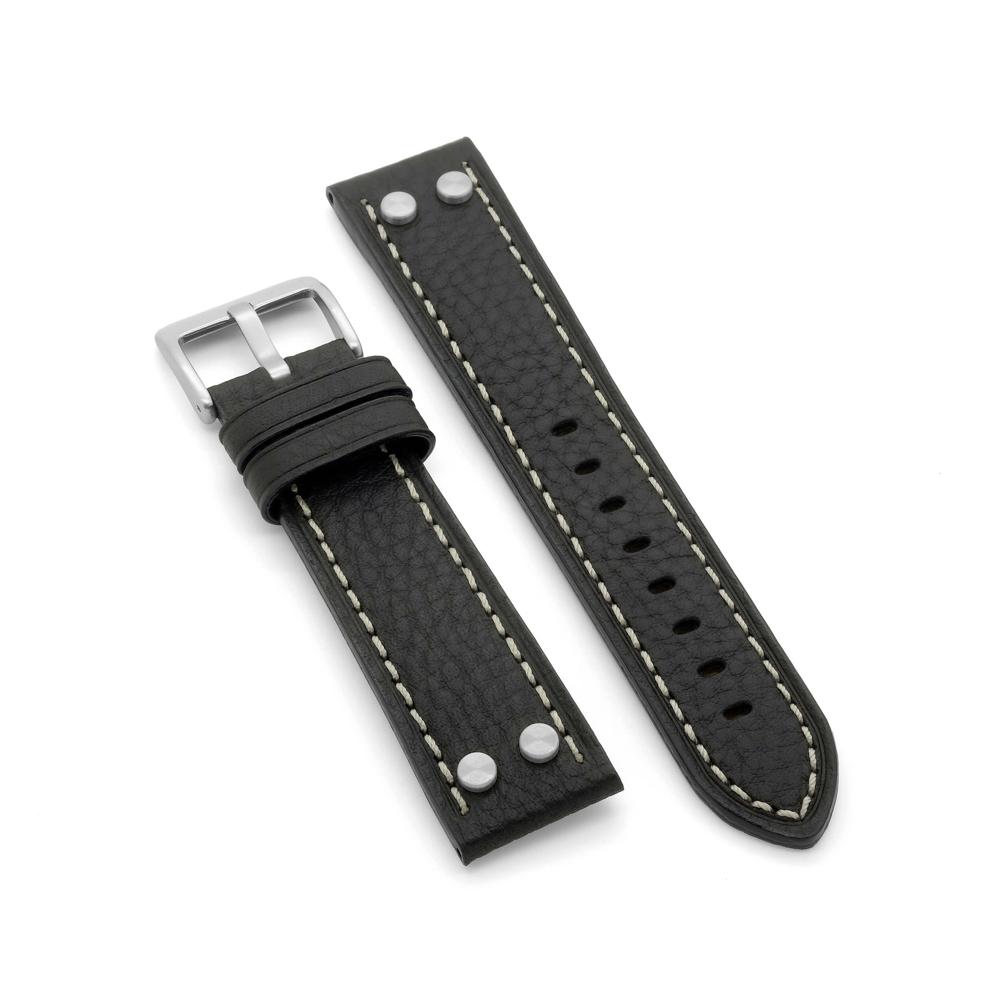 'Vintage Aviator' Leather Watch Strap (Black)