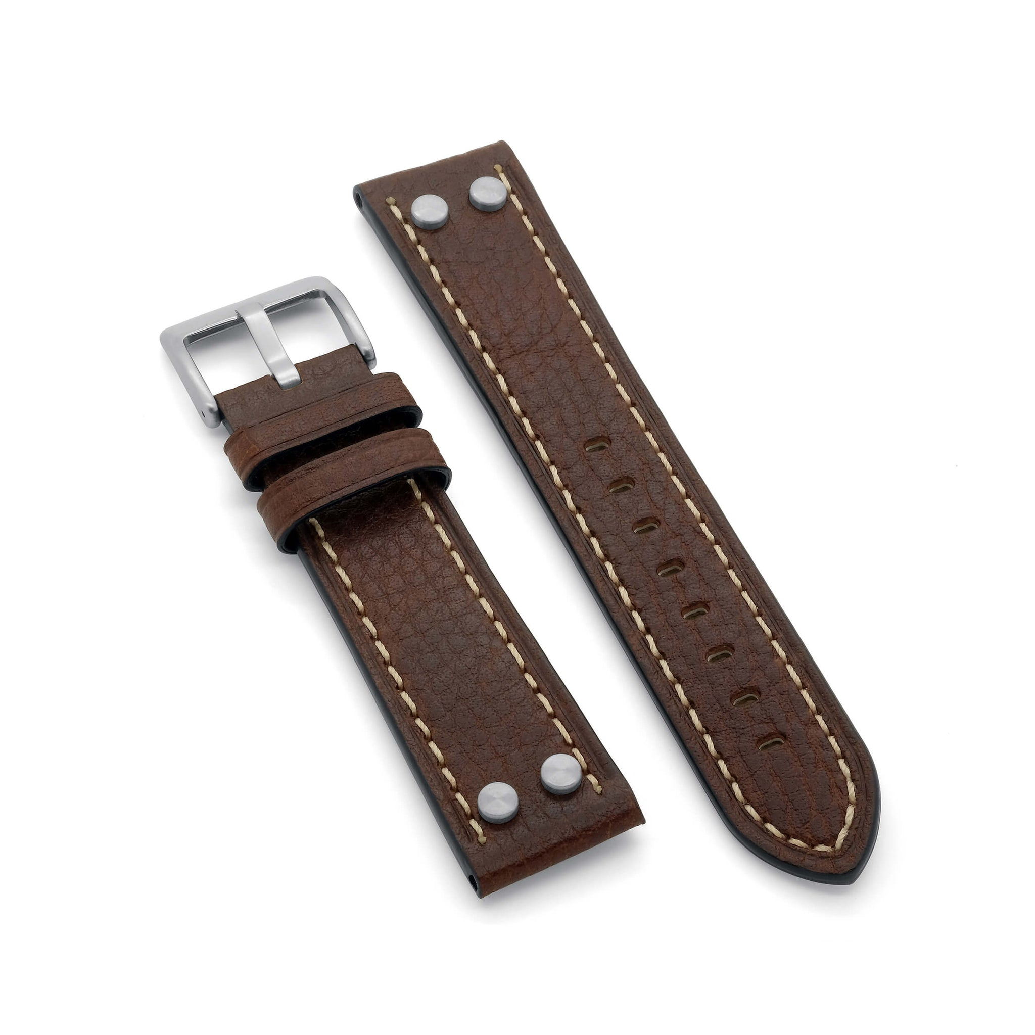 'Vintage Aviator' Leather Watch Strap (Brown)