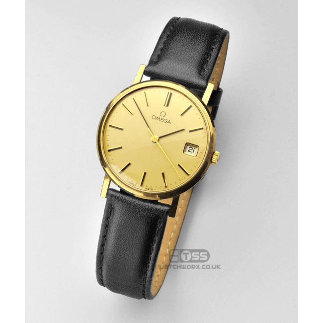 'Wrist Protector' Leather Watch Strap On Gold Omega
