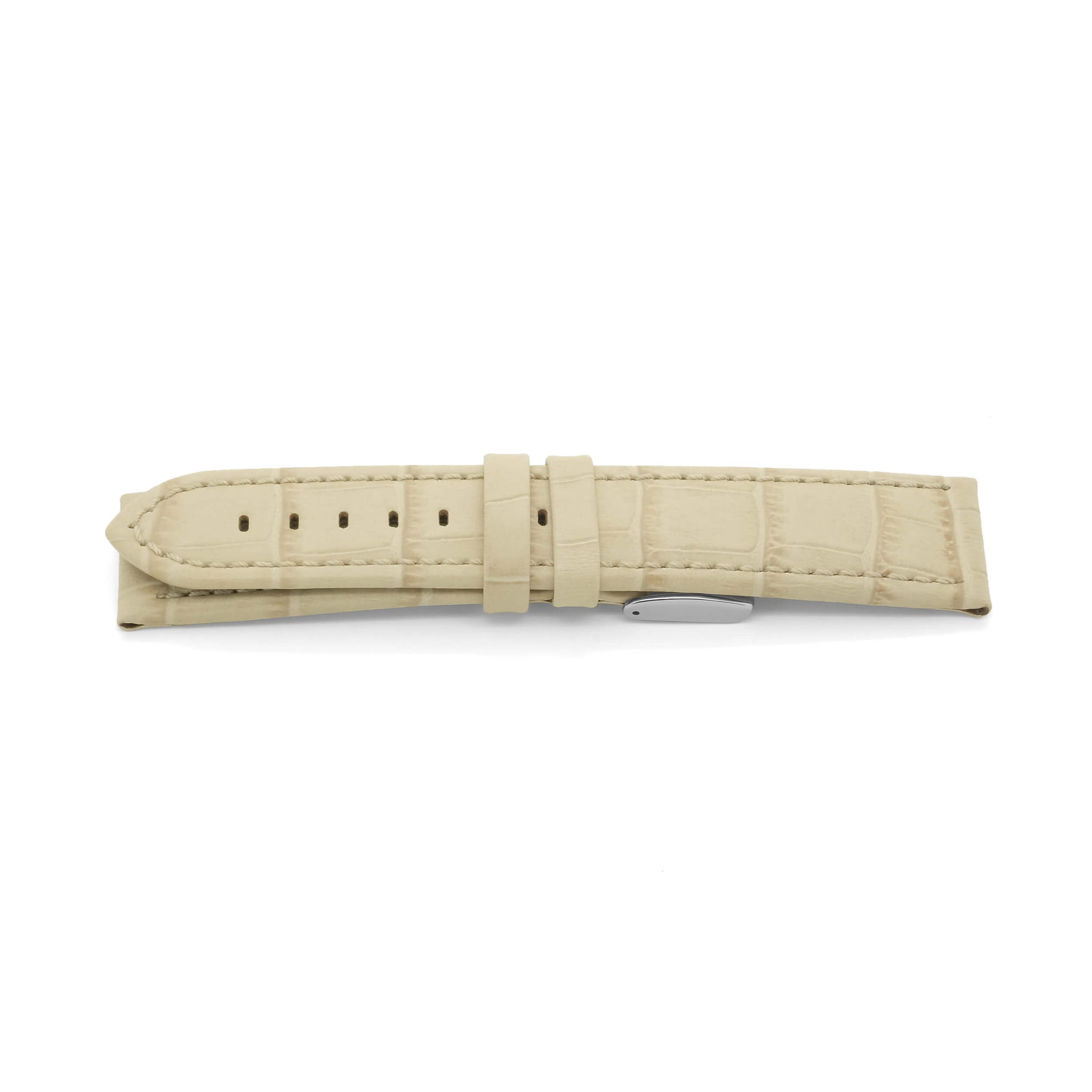 'XPR' Alligator Grain Leather Watch Strap (Stone)