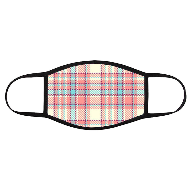 Pink Pixel Plaid • Face Cover