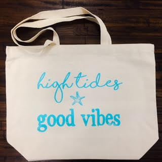 large tote beach bag high tides, good vibes