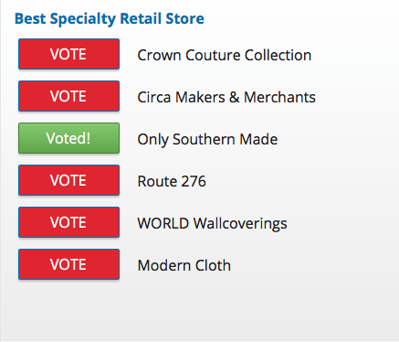 You can help Only Southern Made be named Best Specialty Retail Store for 2017