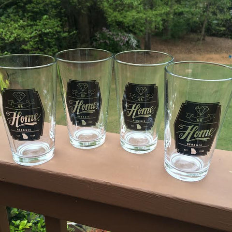pint glass set with state pride