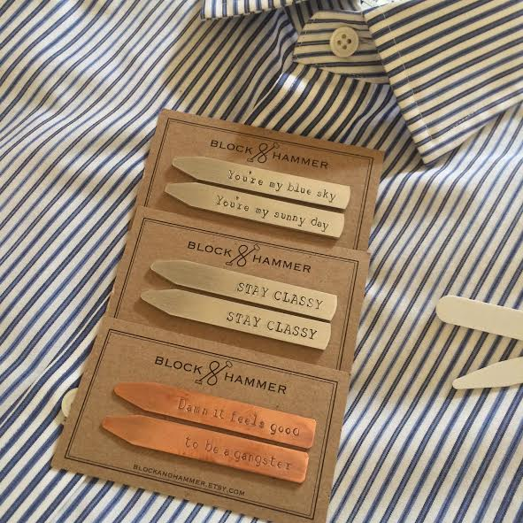 collar stays with unique sayings are a great graduation gift idea for the men in your life