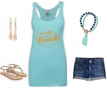summer style inspiration with Pretty as a Peach tank and beaded tassel bracelet in teal