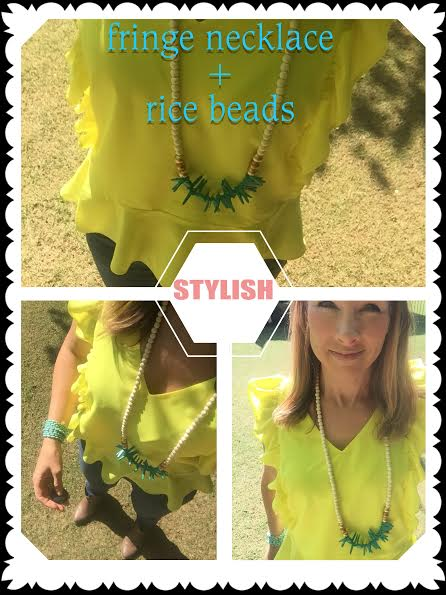 We paired a fringe necklace with rice bead jewelry for a pretty spring outfit idea