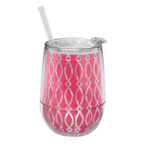 plastic stemless wine glass in pink that can be monogrammed