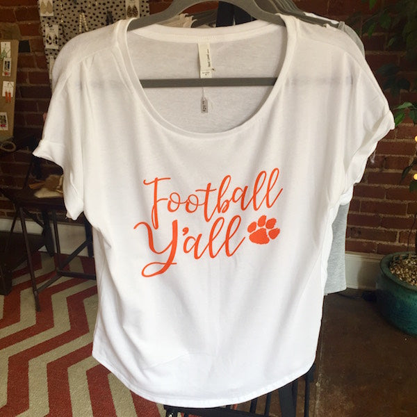 Football Y'all Slouchy White T-Shirt, Orange with Tiger Paw
