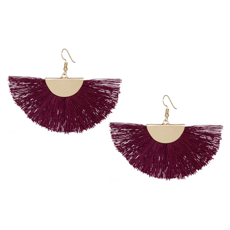 Gold Fan Earrings, Garnet