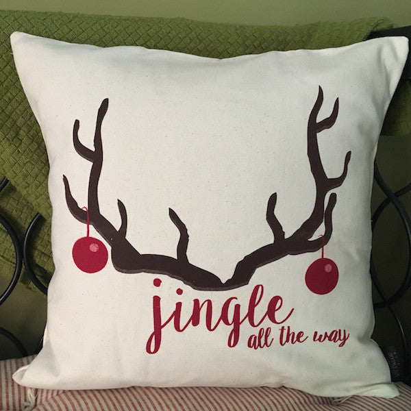 "Jingle All the Way Holiday Throw Pillow, 18""x18"" - Only Southern Made"