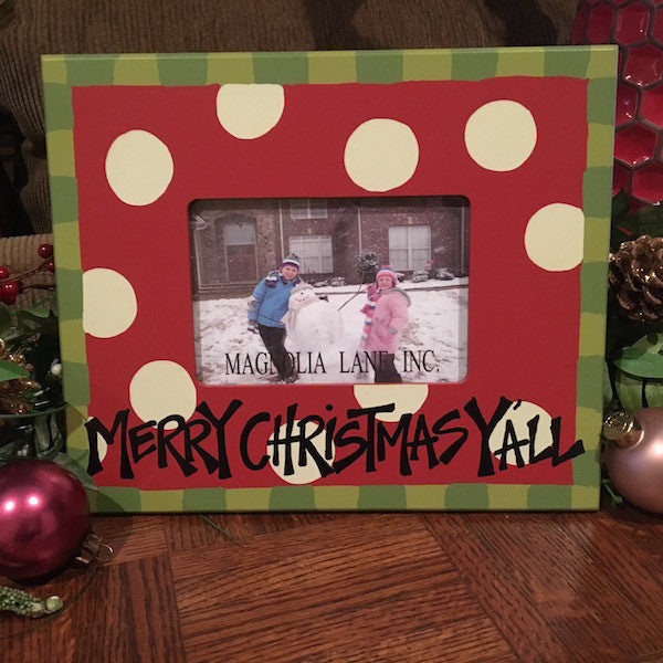 Merry Christmas Y'all Picture Frame, 4x6 Photo Frame - Only Southern Made