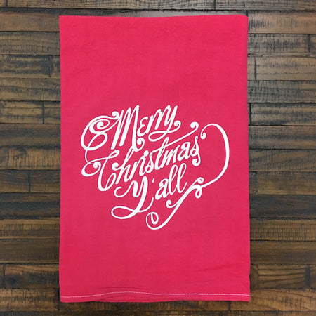 Merry Christmas Y'all Tea Towel - Only Southern Made