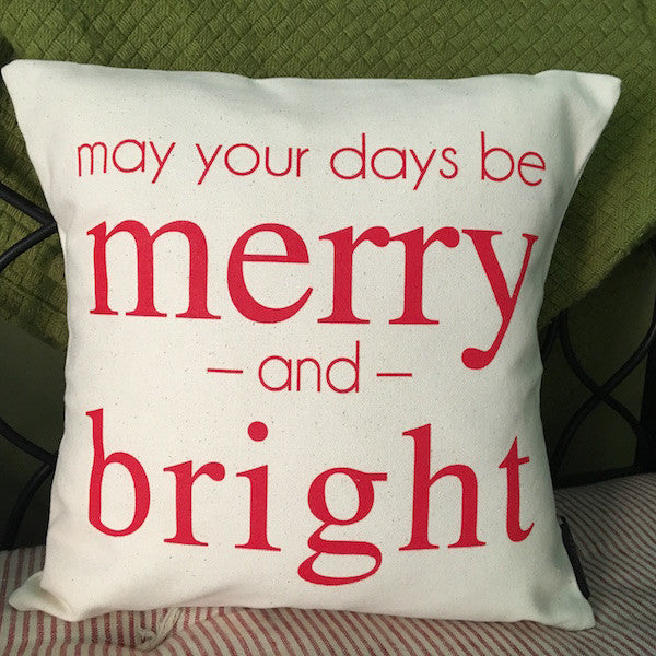 "Merry and Bright Throw Pillow, 12""x12"" - Only Southern Made"