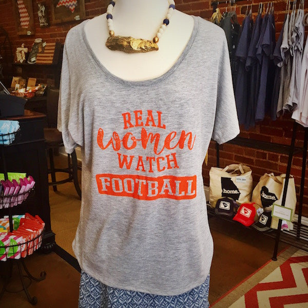 Real Women Watch Football Slouchy T-Shirt, Heather Gray