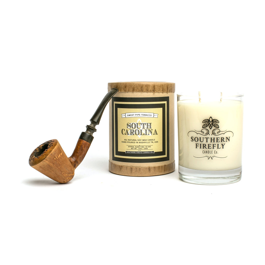 South Carolina Sweet Pipe Tobacco Scented Soy Candle 14 oz. Glass