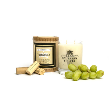 Virginia Chardonnay Scented Soy Candle 14 oz. Glass - Only Southern Made