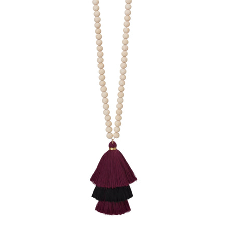 Stacked Cotton Tassel Necklace, Garnet and Black