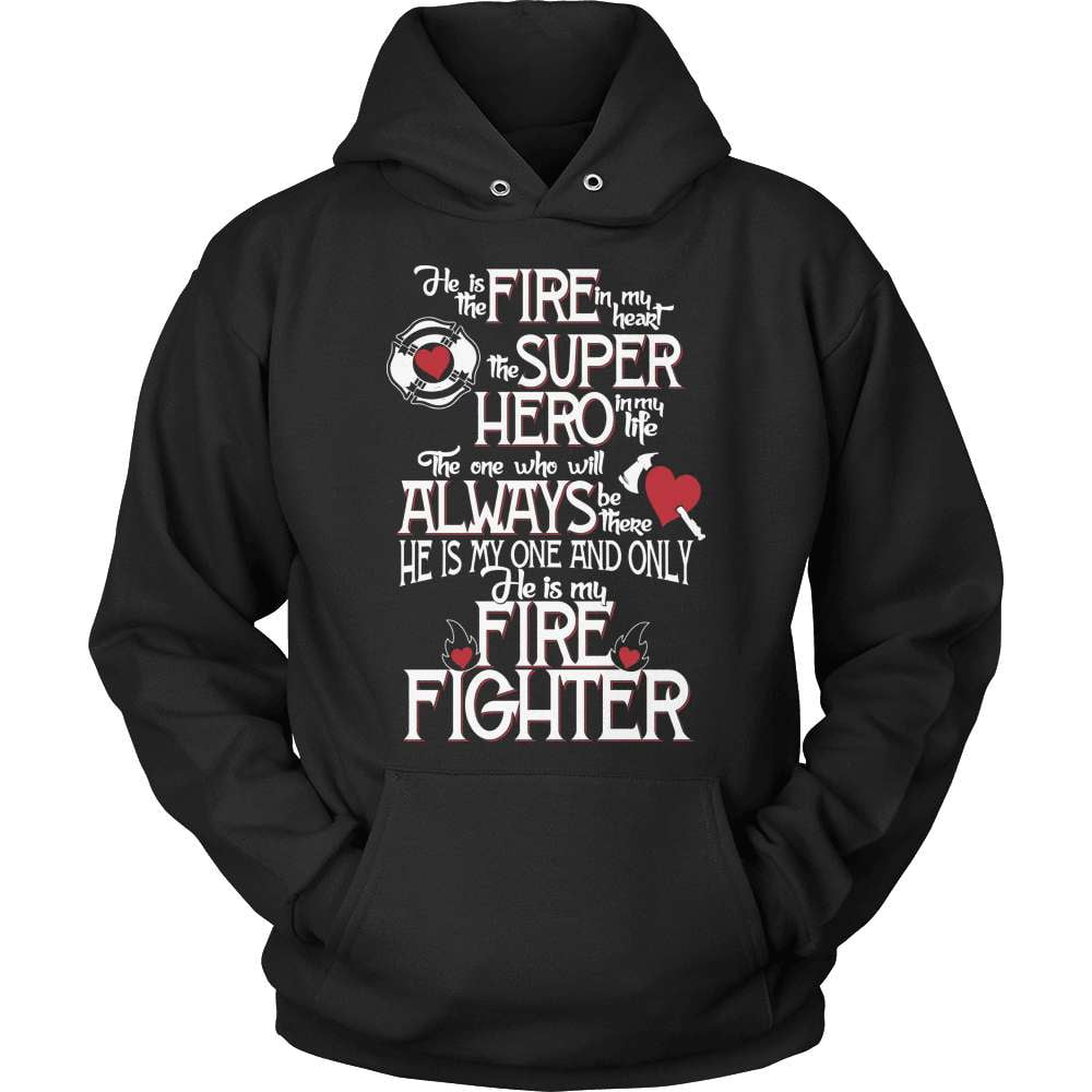 Firefighter T-Shirt Design - He Is The Firefighter In My Heart - snazzyshirtz.com