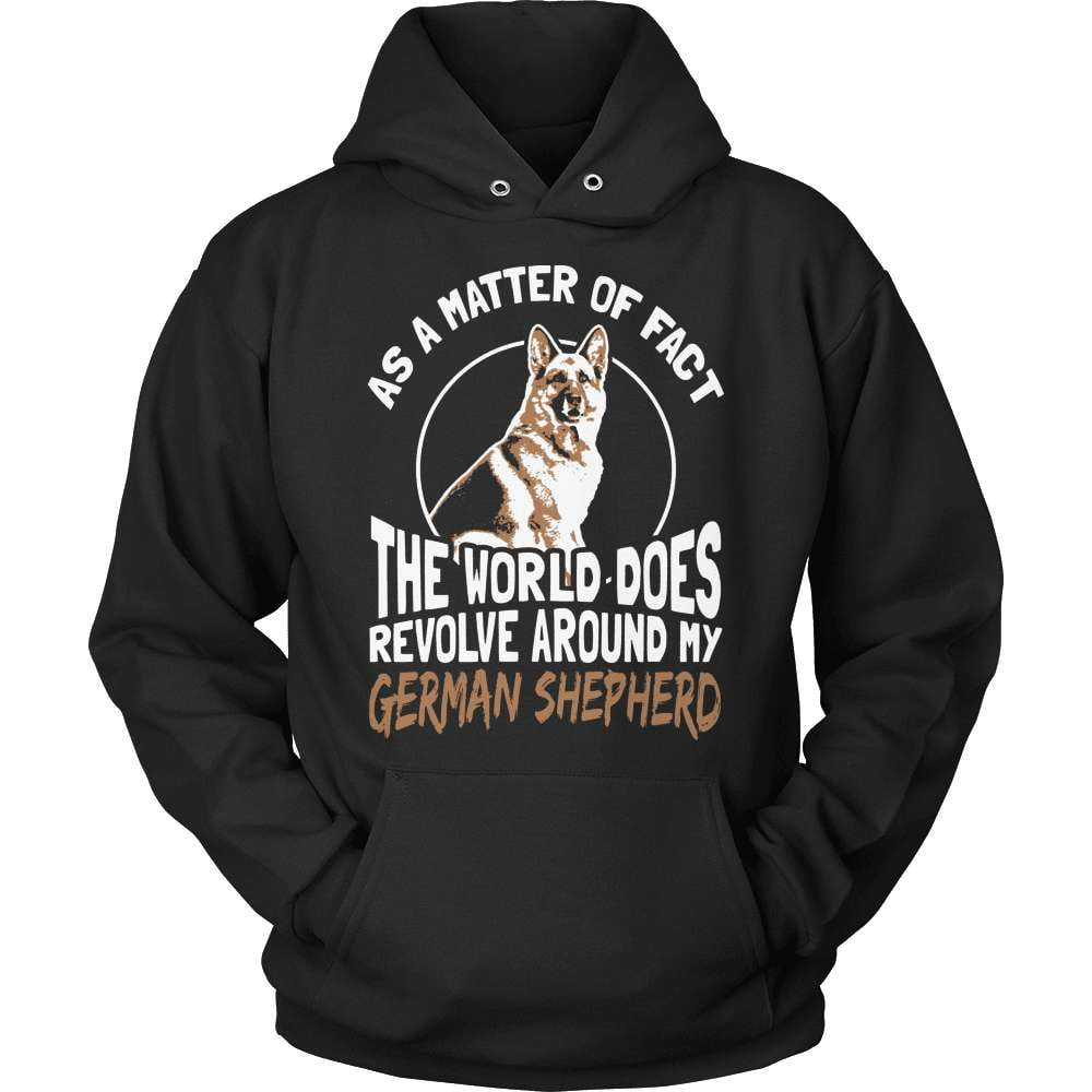 GSD T-Shirt Design - The World Revolves Around My Shep! - snazzyshirtz.com