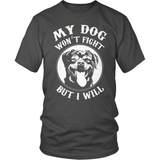 Rottweiler T-Shirt Design - My Rottie Won't Fight