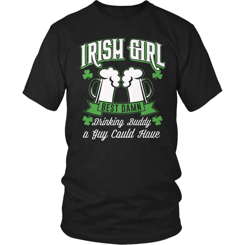 Irish T-Shirt Design - Irish Girl Best Damn Drinking Buddy!
