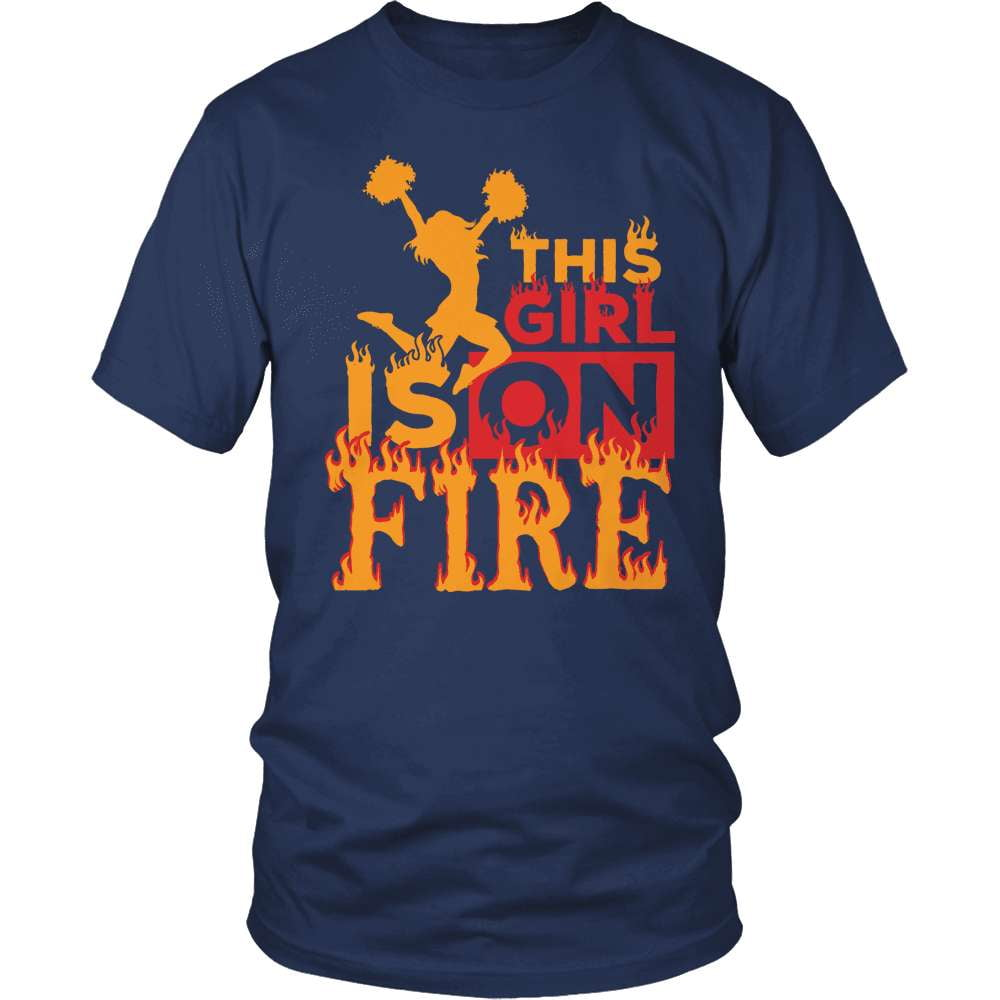 Cheerleader T-Shirt Design - This Girl Is On Fire