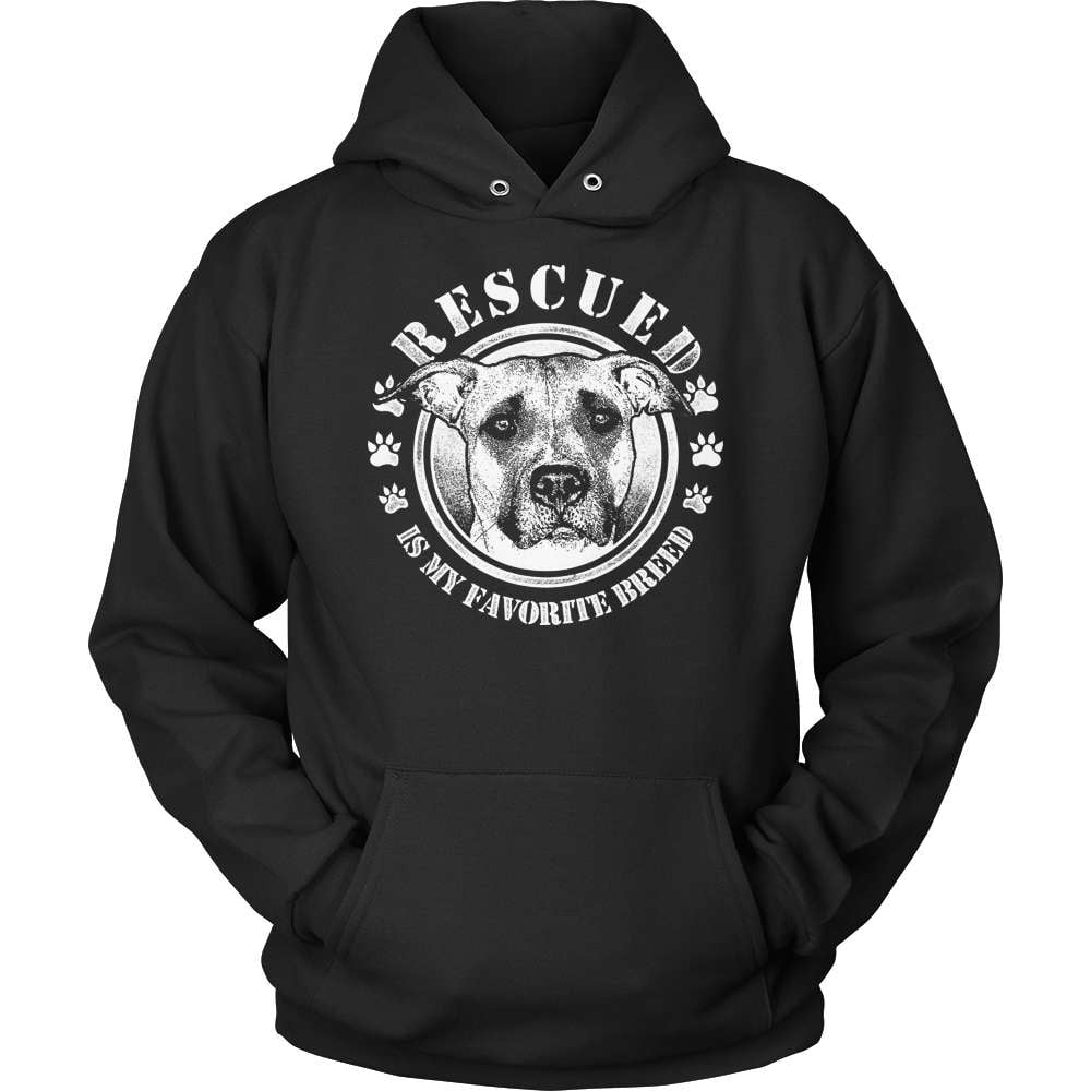 Pit Bull T-Shirt Design - Rescued - snazzyshirtz.com