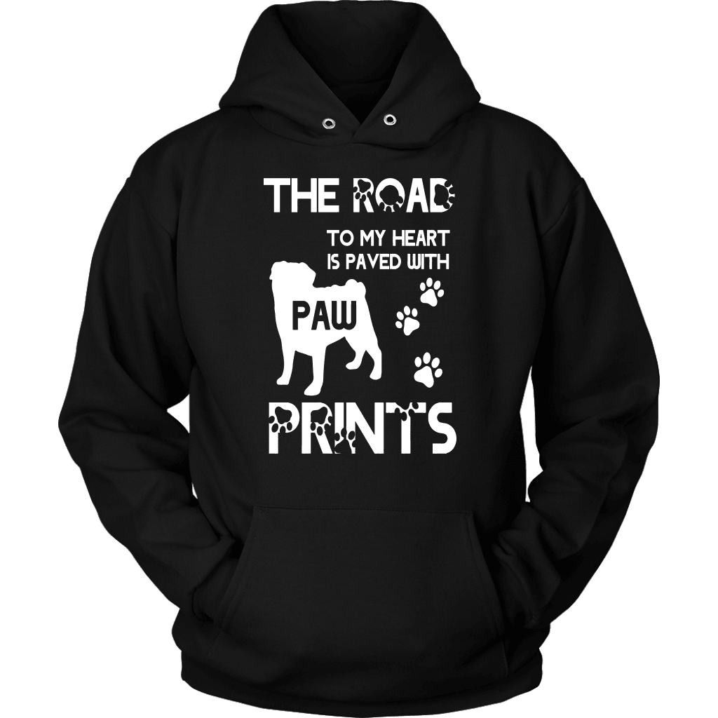 Pug T Shirt Design - Pug Paw Prints