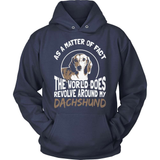 Dachshund T-Shirt Design - The World Revolves Around My Dachshund!