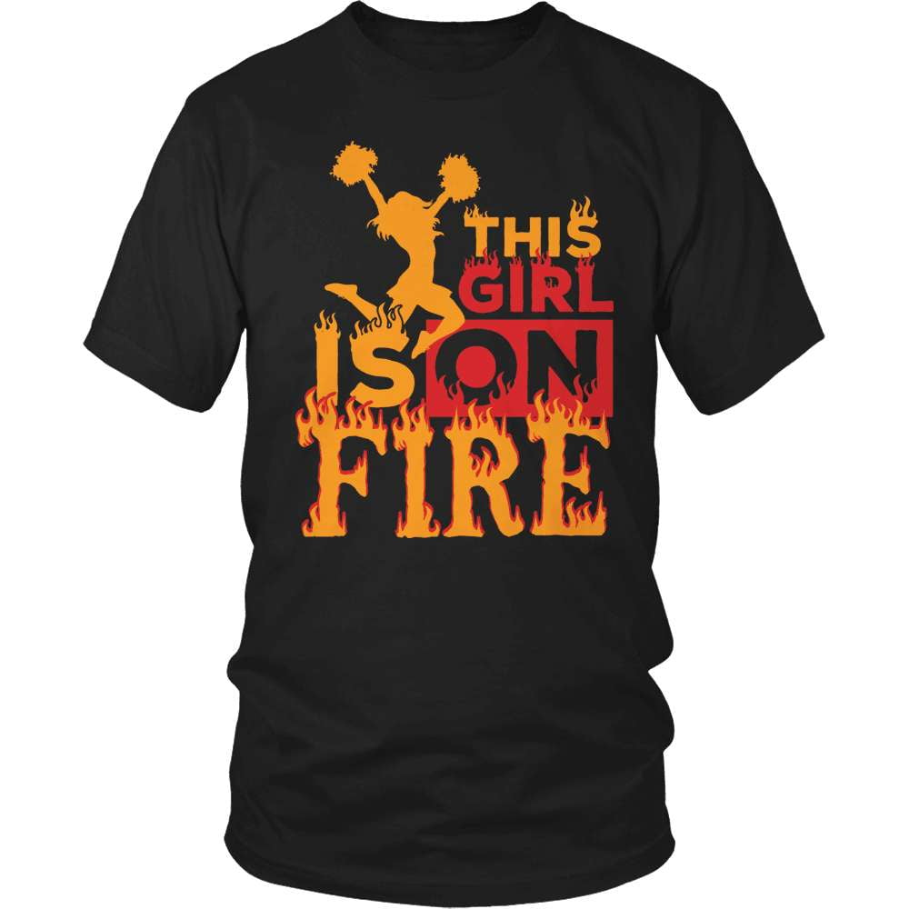 Cheerleader T-Shirt Design - This Girl Is On Fire - snazzyshirtz.com