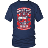 Firefighter T-Shirt Design - Playing With Trucks
