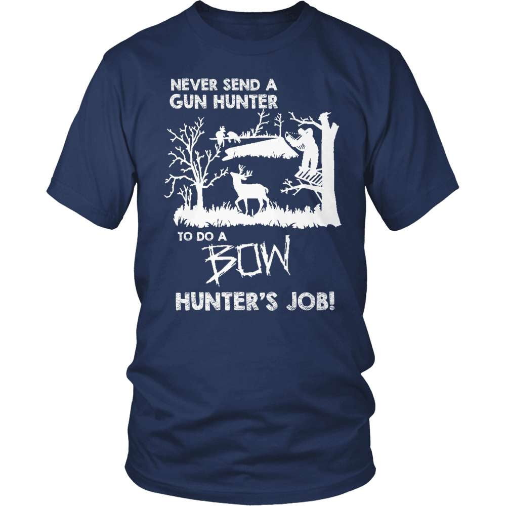 Archery T-Shirt Design - Never Send A Gun Hunter