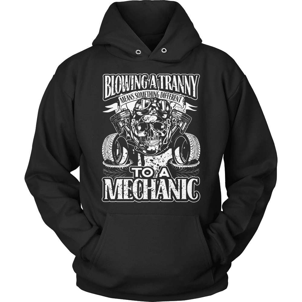 Mechanic T-Shirt Design - Blowing A Tranny - snazzyshirtz.com