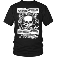 Gun T-Shirt Design - Now I Lay Down To Sleep - snazzyshirtz.com