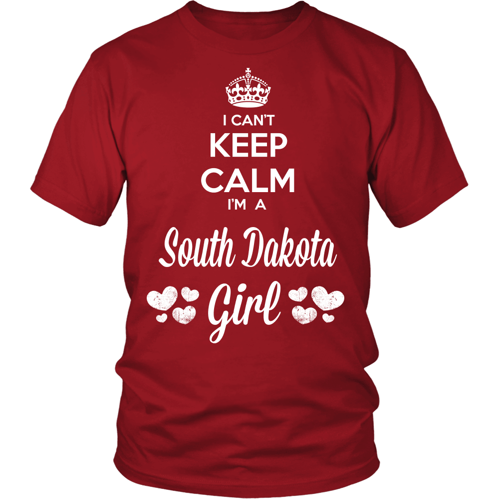 South Dakota T-Shirt Design - Can't Keep Calm South Dakota Girl