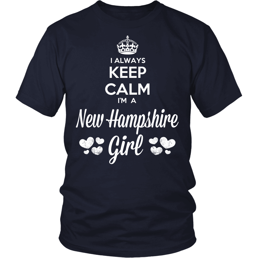 New Hampshire T-Shirt Design - Keep Calm I'm A New Hampshire Girl