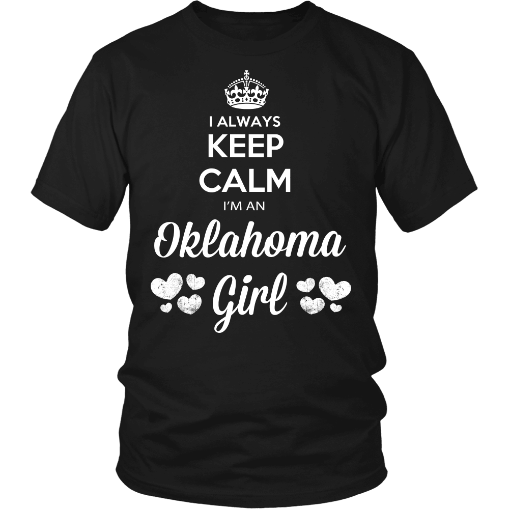 Oklahoma T-Shirt Design - Keep Calm I'm An Oklahoma Girl