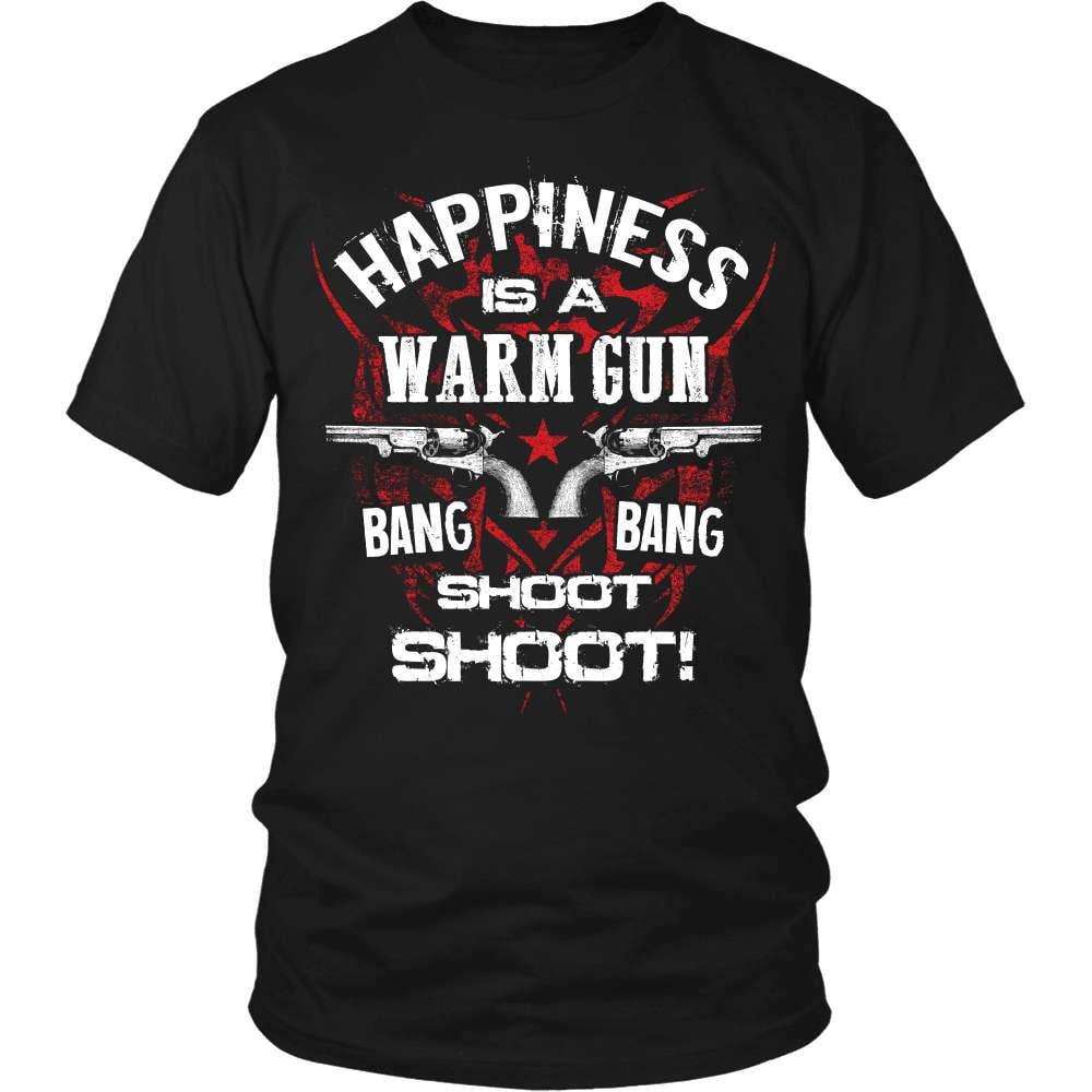 Gun T-Shirt Design - Happiness Is A Warm Gun! - snazzyshirtz.com