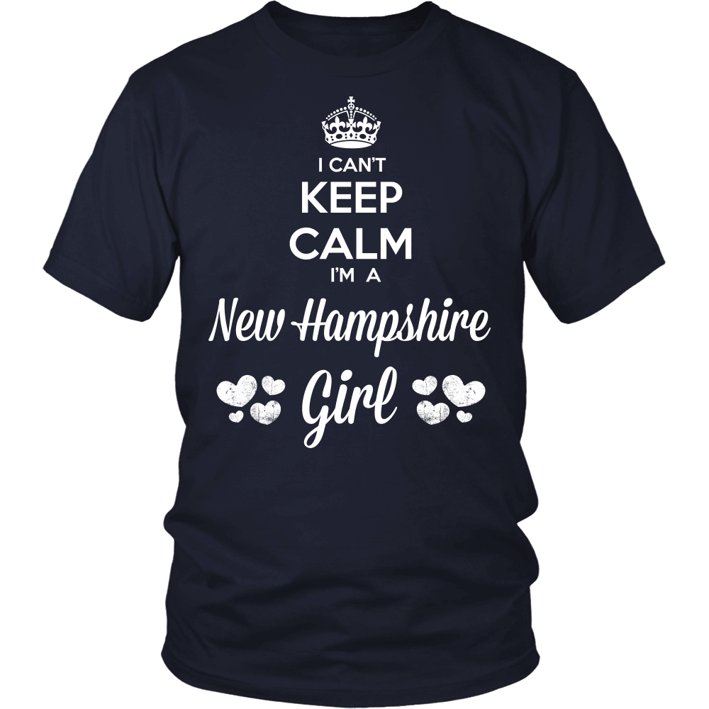 New Hampshire T-Shirt Design - Can't Keep Calm New Hampshire Girl