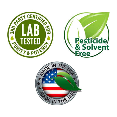 3rd patry lab tested, made in USA , Pesticide and solvent free