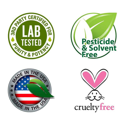 made in usa, pesticide & solvent free, lab tested and cruelty free