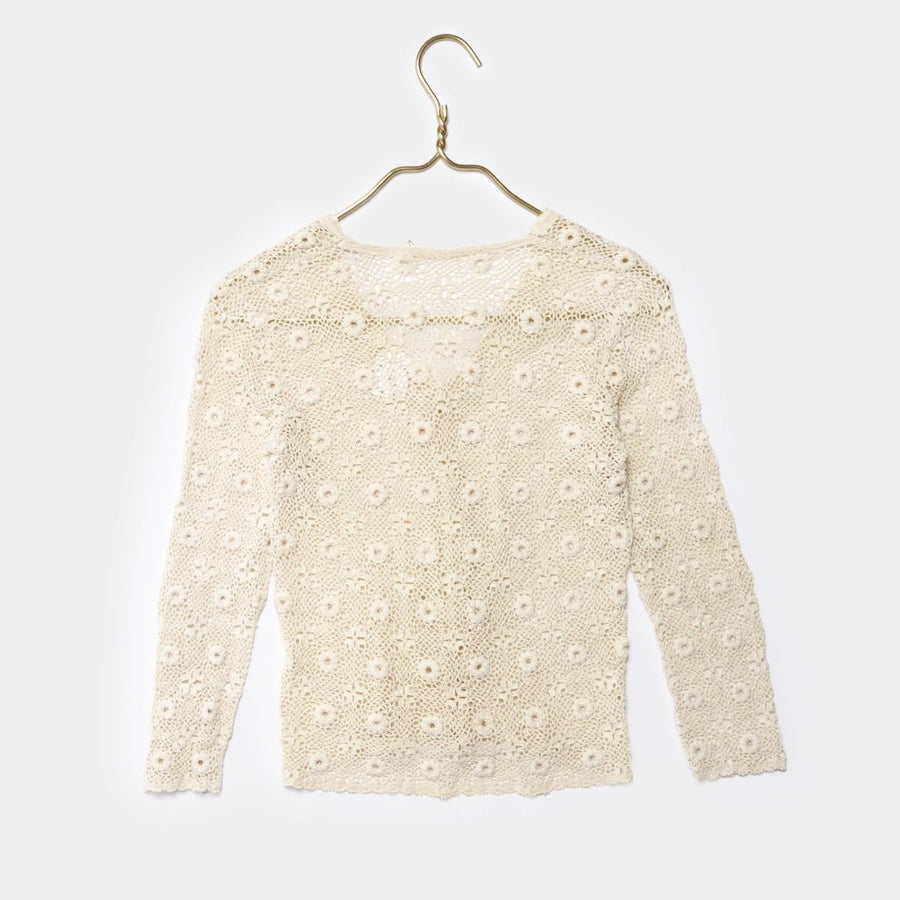 Crochet Long Sleeve Button Up Blouse