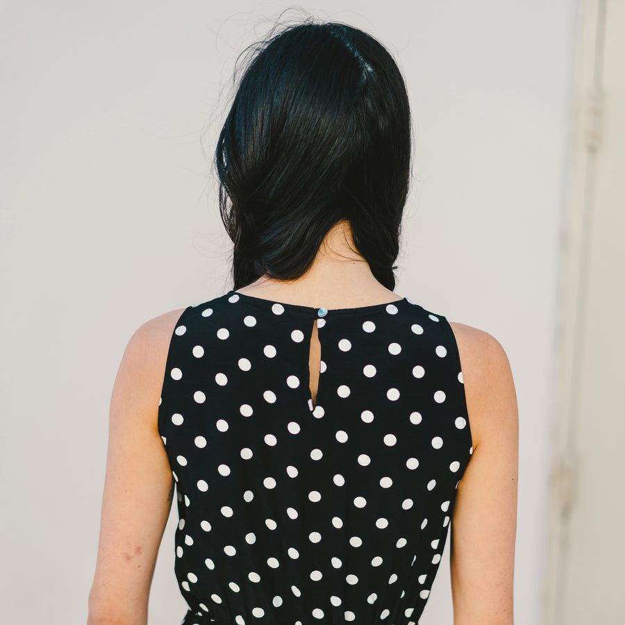 Vintage Sleeveless Dress Black and White Polka Dot