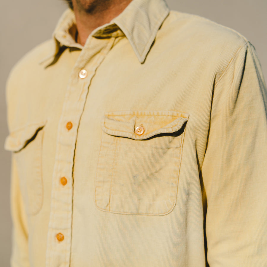 Vintage Creamy Corduroy Long Sleeve Button Up
