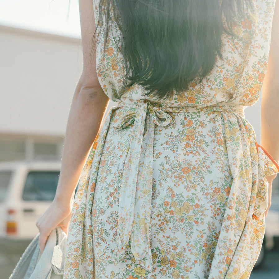 Vintage Yellow and Orange Floral House Dress