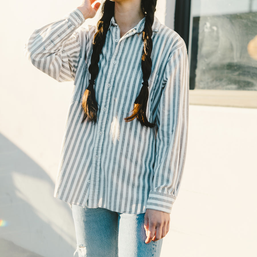 Vintage Gray and White Striped Long Sleeve Button Up