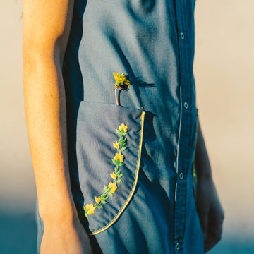 Vintage Blue Sleeveless Dress with Yellow Flowers